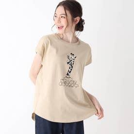 【S-L】アニマルフレンチスリーブコラボTシャツ (ベージュ)