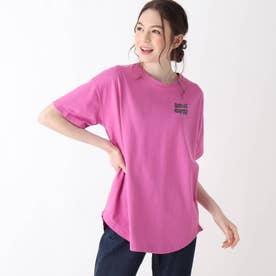 【S-L】レトロプリントBIGコラボTシャツ (ペルシアンレッド)