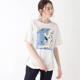 【S-L】レトロプリントBIGコラボTシャツ (オフホワイト)