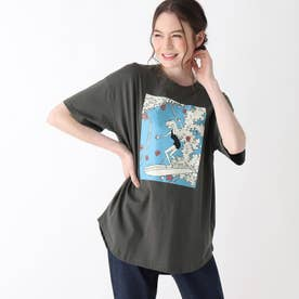 【S-L】レトロプリントBIGコラボTシャツ (チャコールグレー)