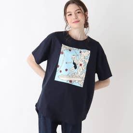 【S-L】レトロプリントBIGコラボTシャツ (ネイビー)
