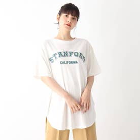 【S-L】カレッジロゴTシャツワンピース (オフホワイト)