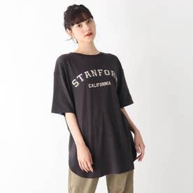 【S-L】カレッジロゴTシャツワンピース (チャコールグレー)
