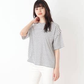【S-L】ボーダーデザインスリーブTシャツ (オフホワイト)