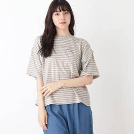 【S-L】ボーダーデザインスリーブTシャツ (グレー)
