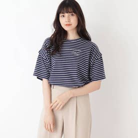 【S-L】ボーダーデザインスリーブTシャツ (ネイビー)