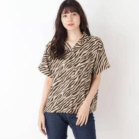 【S-L】オープンカラーシャツ (ダークブラウン)