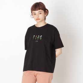 【S-L】フラワー刺繍プルオーバー (ブラック)