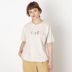 【S-L】フラワー刺繍プルオーバー (ベージュ)