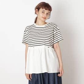 【S-L】裾布帛切り替えアソートプルオーバー (オフホワイト)