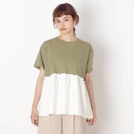 【S-L】裾布帛切り替えアソートプルオーバー (カーキ)