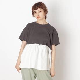 【S-L】裾布帛切り替えアソートプルオーバー (チャコールグレー)