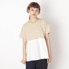 【S-L】裾布帛切り替えアソートプルオーバー (ベージュ)