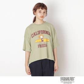 【S-L】ピーナッツ転写Tシャツ (カーキ)