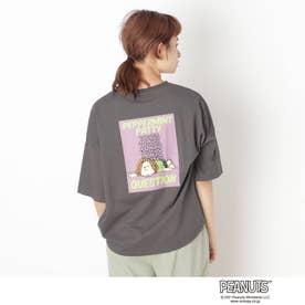 【S-L】ピーナッツ転写Tシャツ (チャコールグレー)