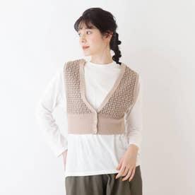 【S-L/2点セット】ニットビスチェ+Tシャツ (ベージュ)