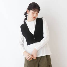 【S-L/2点セット】ニットビスチェ+Tシャツ (ブラック)