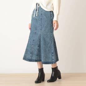【S-L】デニムマーメイドスカート (ネイビー)