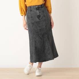 【S-L】デニムマーメイドスカート (ブラック)