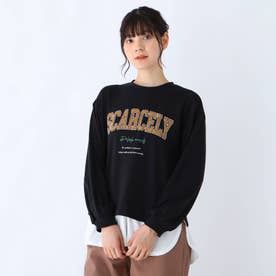 【S-L】カレッジロゴ裾フェイクプルオーバー (ブラック)