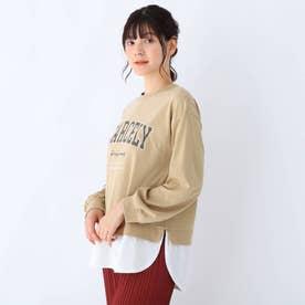 【S-L】カレッジロゴ裾フェイクプルオーバー (ベージュ)