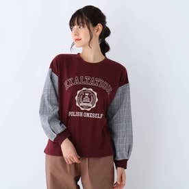 【S-L】お袖チェック切替ロゴプルオーバー (ボルドー)