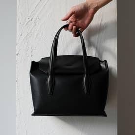 【床革】フラップ付きトートバッグ (Black)