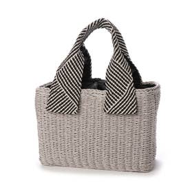 CURI BISCUI 織リボンハンドル雑材 カゴバッグ (Gray)