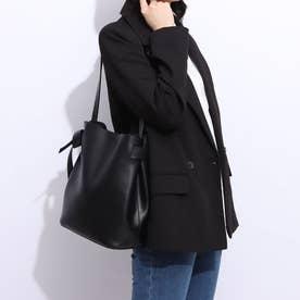 【CURIBISCUI】スムースフェイクレザーのサイドリボン ショルダーバッグ (Black)