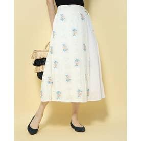 クロスステッチ花柄ジャガード ラップ風スカート (ホワイト系)
