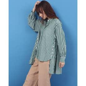 camelliamaxストライプ バンドカラーシャツ (グリーン系)