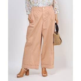 高密度チノ 裾ダブルワイドパンツ (ライトピンク)