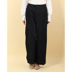 高密度チノ 裾ダブルワイドパンツ (ブラック)