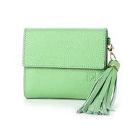 【カード収納枚数9枚】キアーロ 日本製 外小銭入れ付き二つ折り財布 (グリーン)