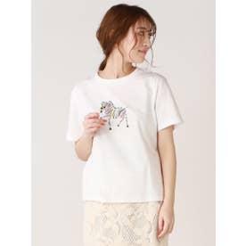 ソフト天竺ゼブラモチーフTシャツ (オフホワイト)