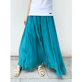 ≪手洗い可能≫レーヨンワッシャーギャザースカート (グリーン)