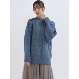 ネップクルーネックケーブルニット【WEB・一部店舗限定】 (ブルー)