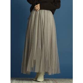 チュールプリーツスカート (ライトグレー)