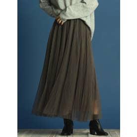 チュールプリーツスカート (チャコールグレー)