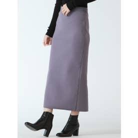 スウェット風ニットタイトスカート【セットアップ可能】 (パープル)