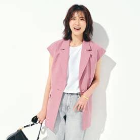 スリーブレスジャケット【セットアップ可能】 (ピンク)