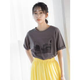 フォトプリントTシャツ (チャコールグレー)