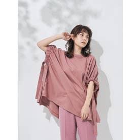 袖リボンポンチョカットソー (ピンク)