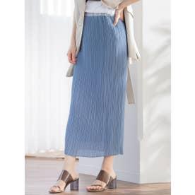 【WEB別注】スリムプリーツタイトスカート (ブルー)