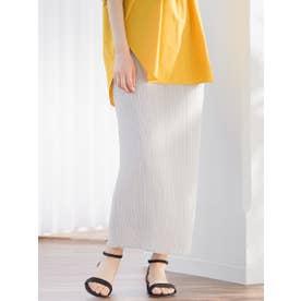 【WEB別注】スリムプリーツタイトスカート (ライトグレー)