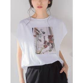フラワーフォトフレンチスリーブコットンTシャツ (ホワイト系その他)