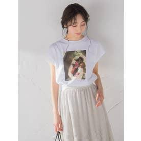 フラワーフォトフレンチスリーブコットンTシャツ (アイボリー)
