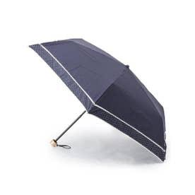 because ピンドット柄切り替え晴雨兼用折り畳み傘 (ネイビー(093))