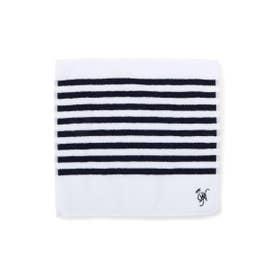 イニシャル刺繍ボーダータオル (ネイビー(393))