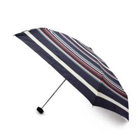 マルチボーダーコンパクト晴雨兼用折り畳み傘 (ネイビー)